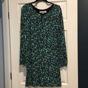 Trina Turk teal long sleeved dress